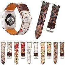 Faixa de couro floral do vintage para apple assistir série 5 4 3 2 1 pulseira nota musical pulseira para iwatch 38 40 42 44mm pulseira cinto