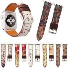 Vintage Bloemen Lederen Band voor Apple Horloge Serie 5 4 3 2 1 Polsband Muzieknoot Band voor iWatch 38 40 42 44mm Armband Riem