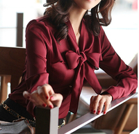 New 2014 Autumn Classic Bowtie Office Lady Chiffon Shirts Good Quality Vintage Noble Sweet Women Career