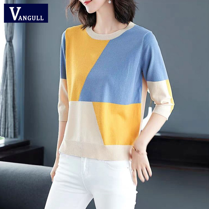Vangull Contrast Color Women Sweater Spring Casual Half Sleeve Pullovers Female O-Neck Thin Soft Knitted Women Jumper Sweater