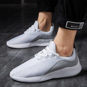 7b5da7937 Мужская повседневная обувь дышащая осенне-летняя сетчатая брендовая мужская  обувь на шнуровке кроссовки легкие для взрослых модный тренд .