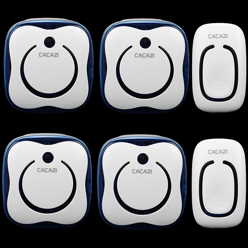 ФОТО CACAZI Wireless Door Bell DC power source doorbell 280M  remote control waterproof button elderly pager 2 transmitter+4 receiver