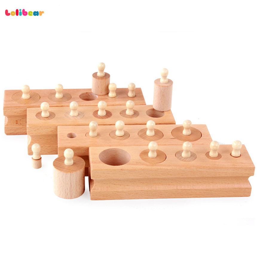 Educational Wooden Toy Montessori Cylinder Socket Early Development Senses