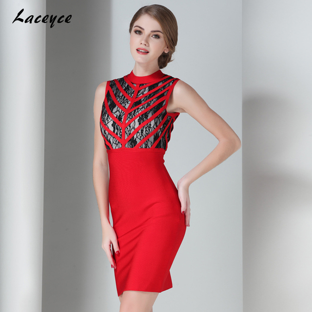 0fc401f8882 Laceyce 2018 New Summer Women legant Bandage Dress Sexy Red Black Lace  Sleeveless Patchwork Above Knee Bodycon Party Dresses