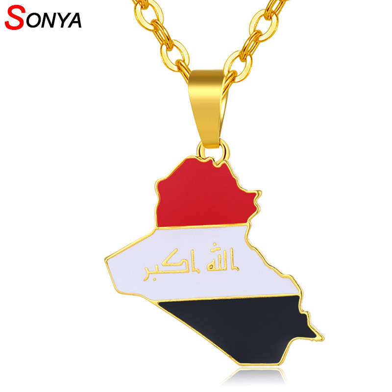 SONYA Republic Of Iraq Map Flag Pendant Necklace For Women/Men Gold Color Jewelry Maps Of Iraq Necklaces Bijoux Femme
