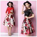 Mulheres hepburn vintage floral imprimir plissada saia de midi vestido de baile balanço queimado saias