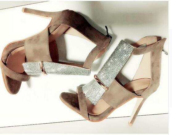 Newest 2017 Beige Suede Leather Cut-Out Crystal Front High Heel Sandals Back Zipper Cage Thin Heel Women Sandals 100% Real Photo hot selling crystal summer dress shoes black pink beige suede leather ankle strap cut out sandals high heel t bar real photo