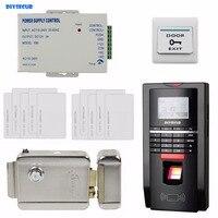 Diysecur ЖК дисплей отпечатков пальцев ID Card Reader пароль дверной Система контроля доступа комплект + Электрический замок для офиса/дома