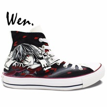 Wen Anime Hand Painted Shoes Vampire Knight Kaname Kuran Woman Man's Anime High Top Canvas Sneakers Boys Girls Gifts