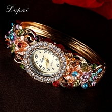 Lvpai Fashion Luxury Gold Bracelet Watch Women Flower Gemstone Classic Alloy Wristwatch Women Dress Watches New Quartz Watch