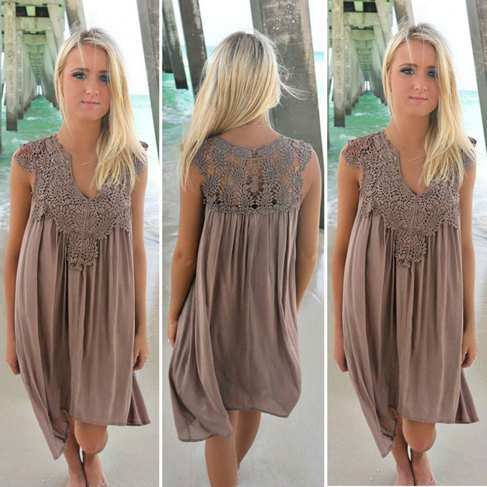 Women dress 2018 new arrivals fashion sexy summer dress Loose lace beach dress women sleeveless Slim womens clothing