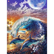 New 5D DIY Diamond Painting Dolphin Wave Embroidery Full Square  Cross Stitch Rhinestone Mosaic Home Decor Gift