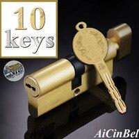 Door Cylinder lock 65 70 75 80 90 100 105 110 115mm Cylinder Colorful Key Anti Theft Entrance Brass Knob Security door lock