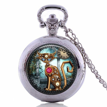 Steampunk Cat Necklace New Fashion Glass Photo Vintage Steampunk Cat Pendant Steampunk Clock Necklace Steampunk Jewelry