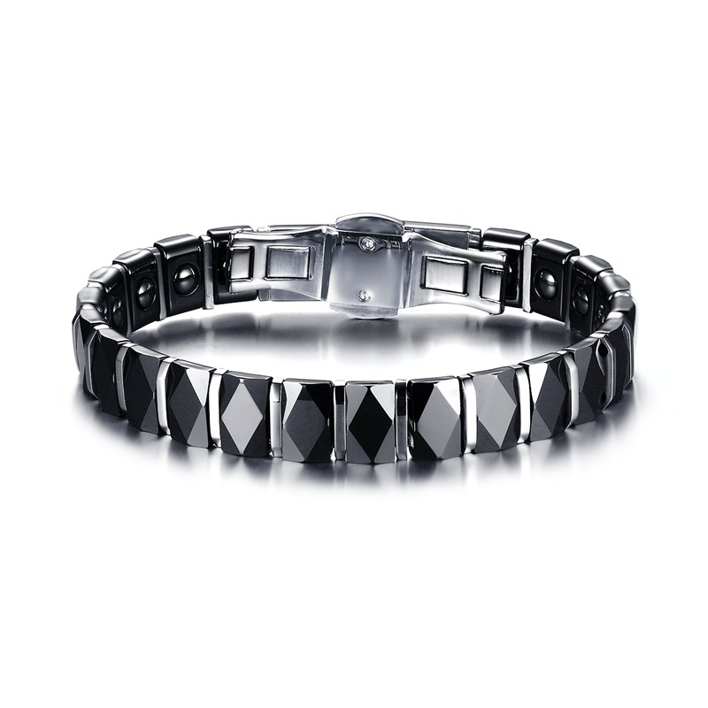 Mens Bracelets Faceted Black Ceramic Stainless Steel Bracelet for Men Punk Therapy Magnet Wristband Armband Pulseira braslet