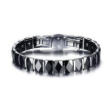 Mens Bracelets Faceted Black Ceramic Stainless Steel Bracelet for Men Punk Therapy Magnet Wristband Armband Pulseira braslet(China)