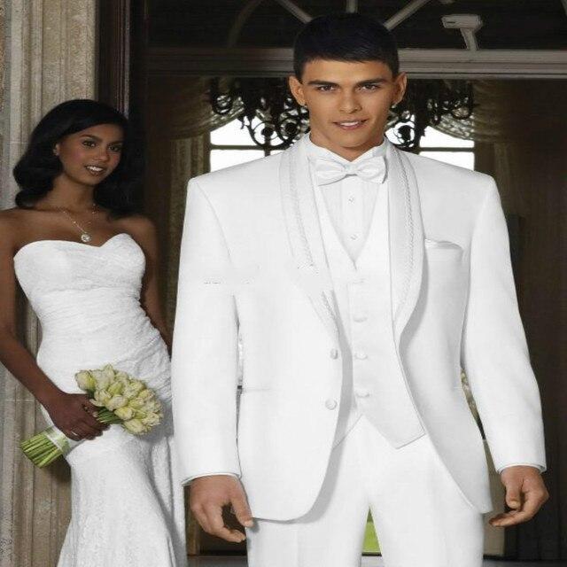 Novo Design Xaile Branco Lapela Do Noivo Smoking Padrinhos Best Man Suit Men Casamento Ternos Noivo Terno (Jacket + Pants + colete + Gravata)
