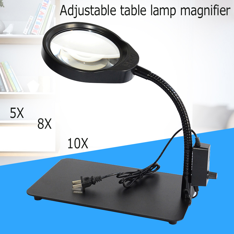Multifunction Crafts Glass Lens Desk Lamp Light Magnifying Desktop Loupe Repair Tools Stand for repairing for reading justone sport camera dual use charging dock 1100mah li polymer battery for sj1000 sj2000 f10