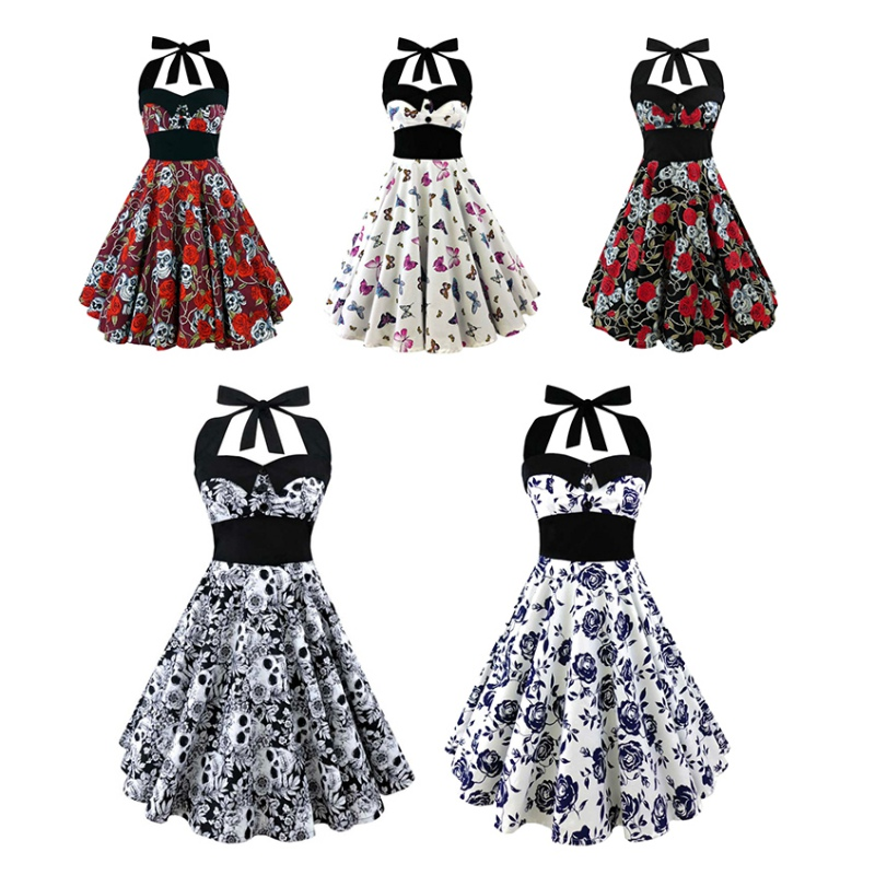 ztbcostume Store Summer New S-5XL Large Size Printed Dress Women Punk Strapless Halter Party Dresses Bowknot Self Gothic Vestidos Clothing Swing