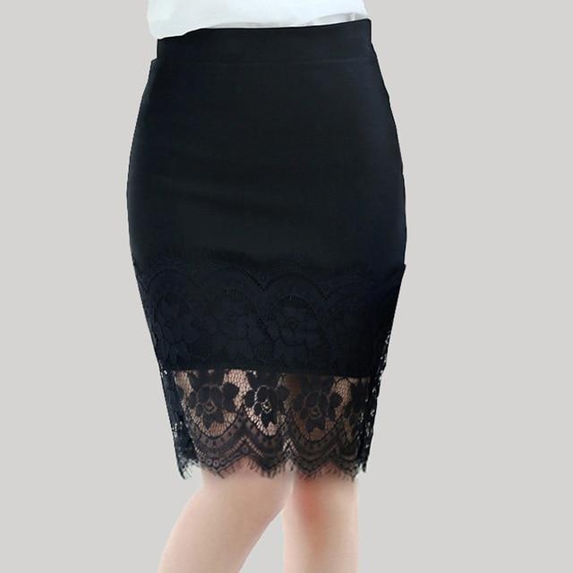 26d5b44d3 Faldas 2018 nueva mujer niñas fuerza elástica negro encaje sexy empalme  cintura alta auto cultivación falda