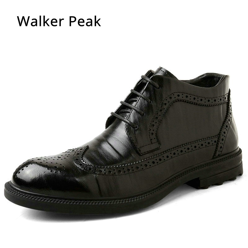 Genuine Leather Men Boots Winter Ankle Boots Fashion Footwear Lace Up Brogue Dress Shoes High Quality Vintage Mens Shoes Brand 2016 luxury brand mens high top flats shoes vintage full leather lace up ankle boots tialian handmade elegant mens formal shoes