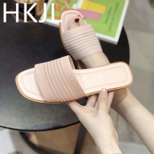 HKJL 2019 slippers women fashion wear the new summer version of Korean with a flat bottom A527