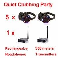 UHF РФ silent disco наушники беспроводной DJ гарнитура пакет 5 наушники + 1 передатчики