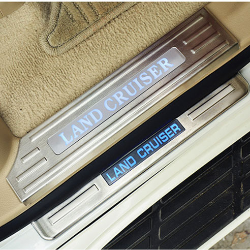Stainless LED Interior Door Sill Scuff Plate Pads For Toyota Land Cruiser 200 2008-2016 Accessories