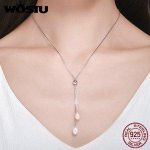 Image 3 - Wostu romântico 925 prata esterlina brilhante pérola de água doce feminino longo corrente pingente colar de prata jóias presente cqn189
