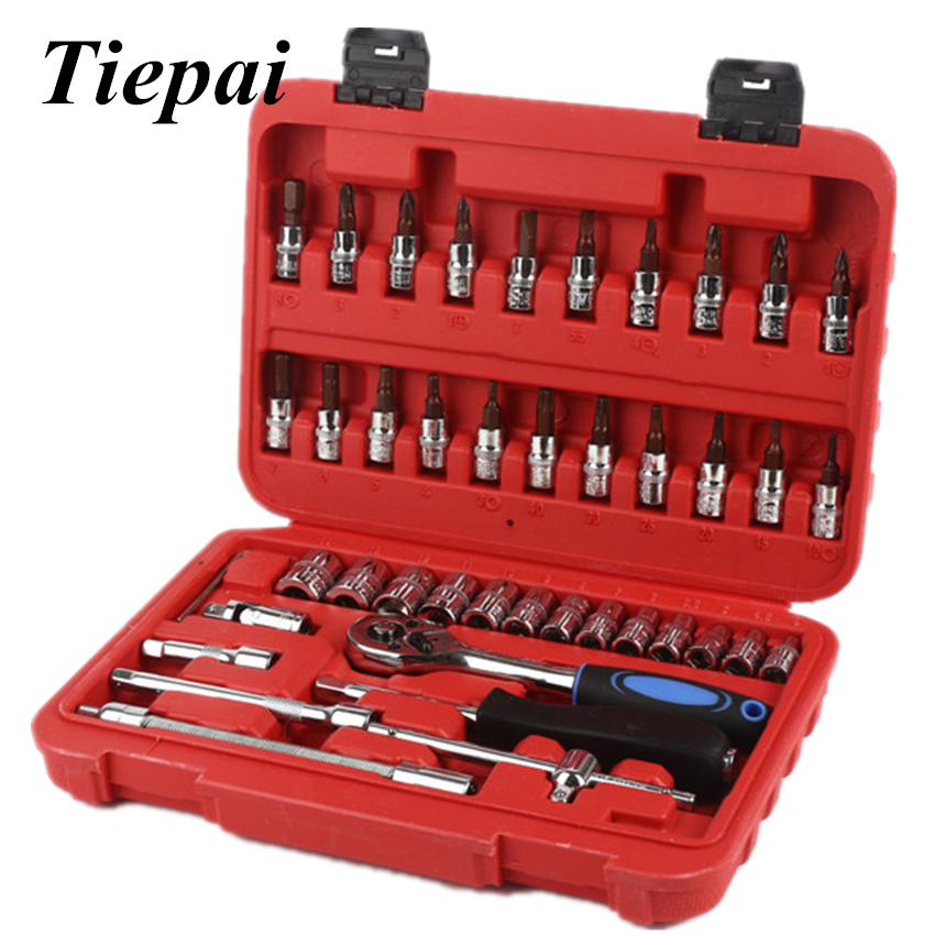 TIEPAI Official Store Tiepai Socket Set Repair Tool Kit 46pcs/set Car Repair Tool Ratchet Torque Wrench Automobiles Tools Kit Tool Kit For Motorcycle