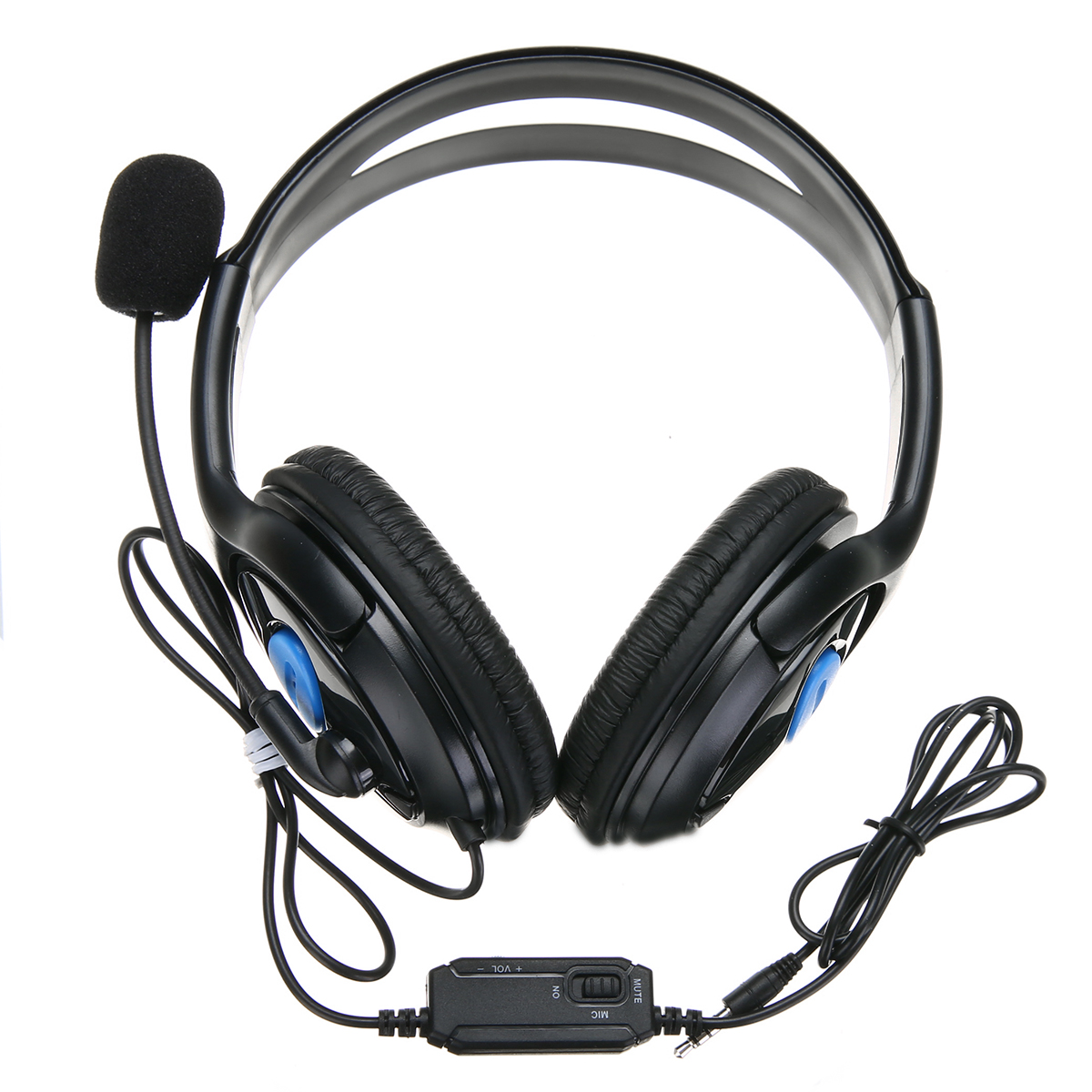 3.5mm Stereo Wired Gaming Headphone Black Blue Computer Gaming Headset Earphone with Mic For PS4 PC Mayitr