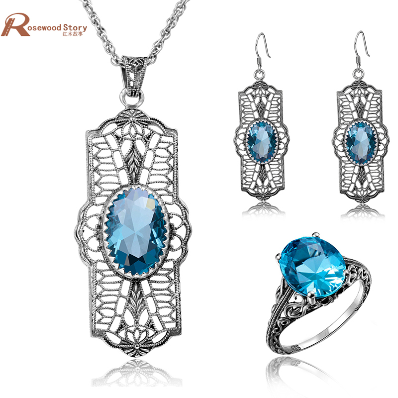Indian Bridal Jewelry Sets Vintage Oval Blue Stone Soild 925 Sterling Silver Crystal Wedding Jewelry Set Pendant/Earrings/Ring ethiopian wedding jewelry sets blue rhinestone crystal for women 925 sterling silver earrings ring pendant bridal jewelry set
