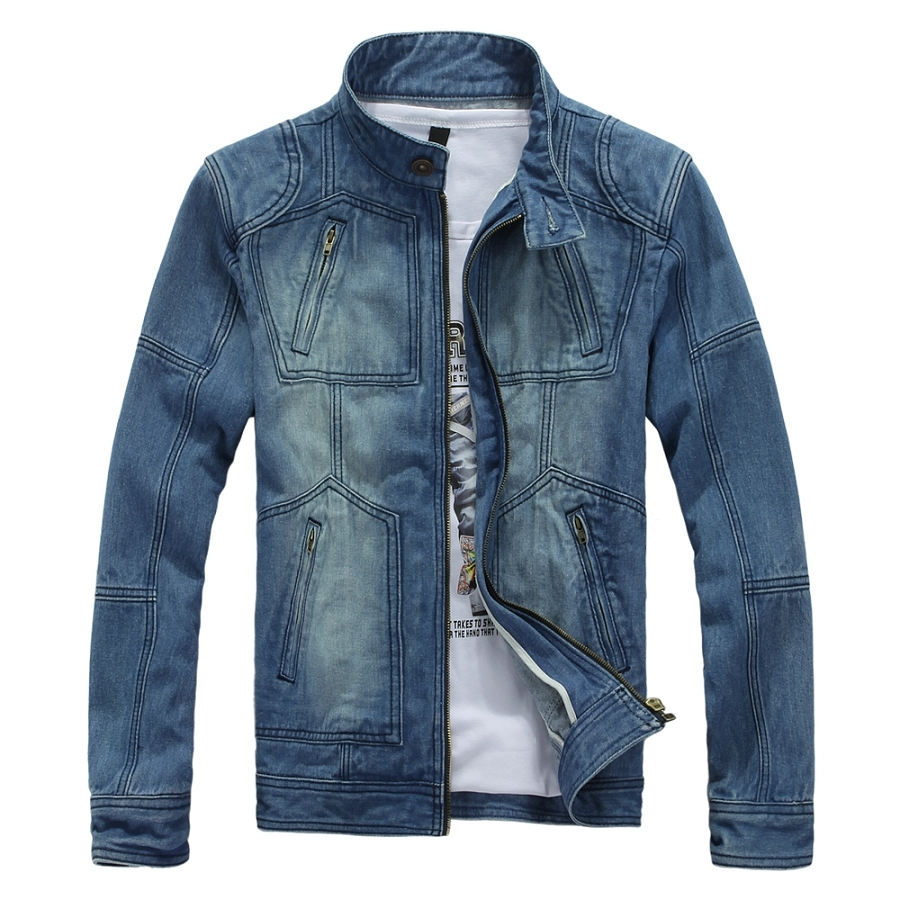 YuWaiJiaRen Men's Jean Jacket Stand Collar 100% Cotton Fashion Casual Vintage Breathable Autumn Spring Denim Jacket For Men