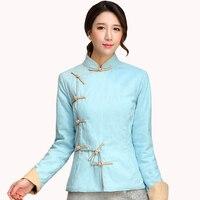 Coton Lin Bleu Femelle Mandarin Chemises à Col Chiense National Mince Automne Blouse Vente Chaude Broché Manches Vêtements S-XXL