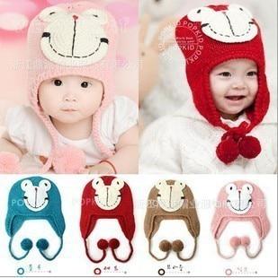 New arrival Fashion Cute Children Infant kids Handmade Frog Knitting wool Cap Hat Beanie caps earflap 20pcs/lot EMS DHL Free