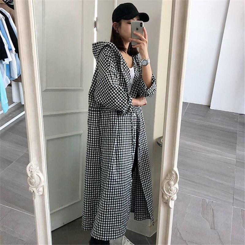 SuperAen 2018 New Korean Style Women Long Shirts Casual Cotton Fashion Loose Hooded Plaid Blouses Long sleeved Wild Shirt Female