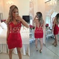 Vestidos Para Nochevieja Corto Red And Nude Short Lace Dress Cap Sleeve Kurze Abendkleid Short Cocktail Dress New Year Eve Dress