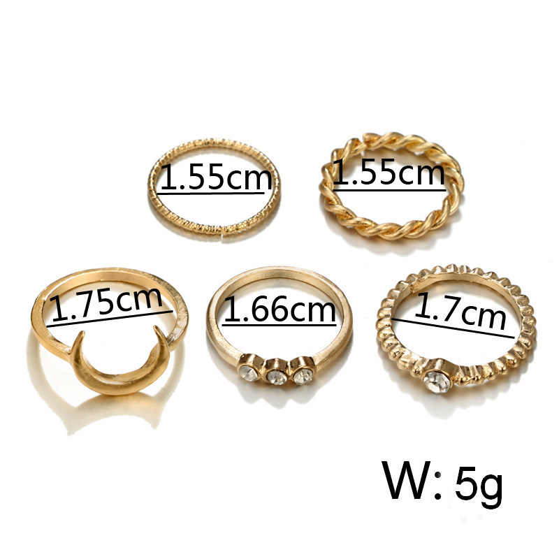 European and American trend simulation pearl heart combination joint personality ring five-piece