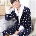 Homens e Mulheres Velo Coral Quente Roupão De Banho Pijama Kimono Hombre Homme Mens Roupão Sleepwear Roupão de Banho Para Casal loungewear