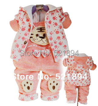 90612d24f clearance baby girl tiger design warm clothing sets hoodie+overalls ...