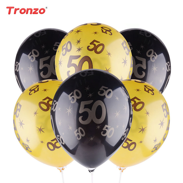 Tronzo Birthday Balloons 30th 40th 50th Gold Black Happy Party Decorations 12inch Latex For