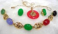 Bán Hot new Phong Cách>>>> charming màu xanh lá cây/red stone-đen đá hỗn hợp bracelet/earring/ring set