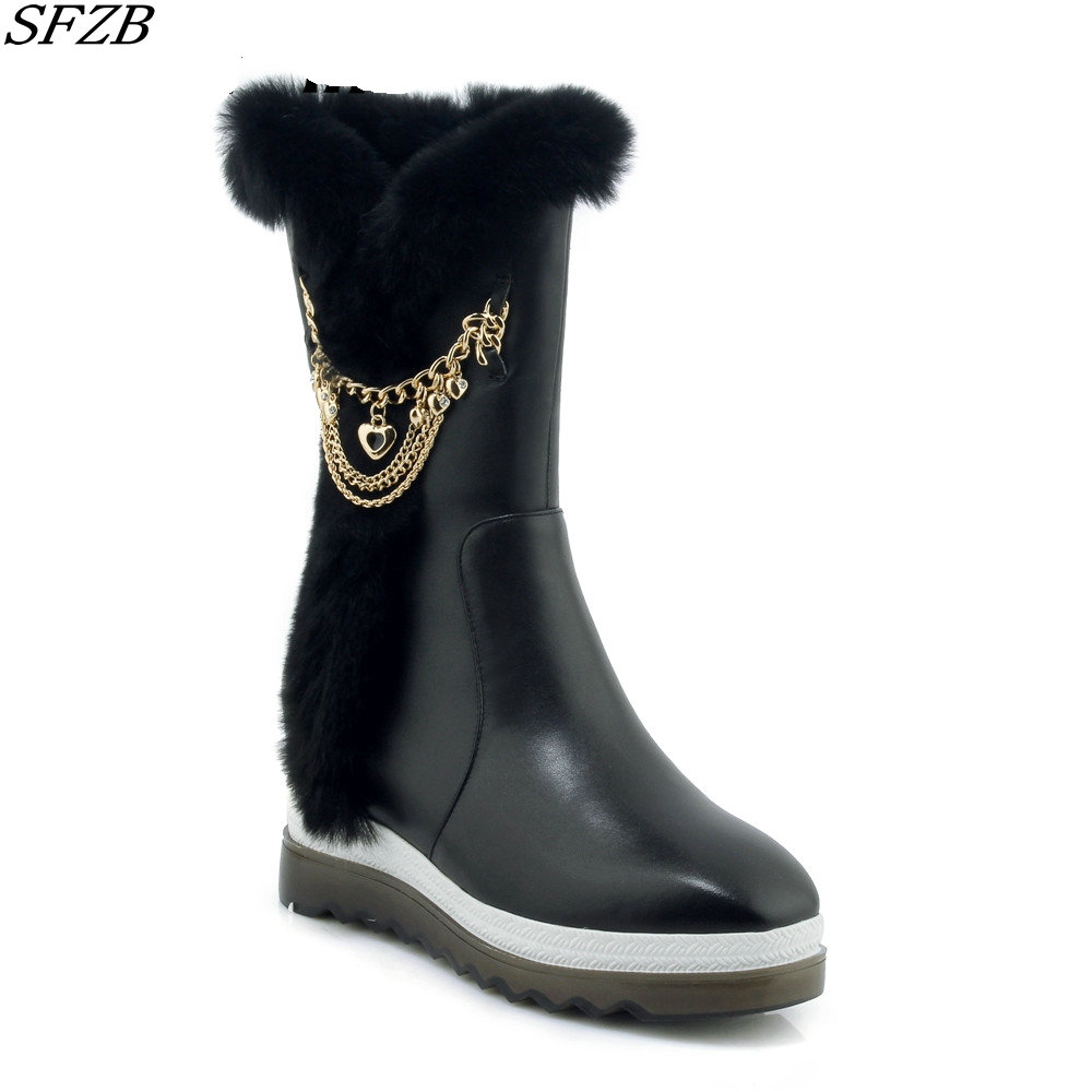 SFZB real sheepskin leather short suede women winter snow boots with button sheep fur lined woman winter shoes brown inoe fashion fox fur real sheepskin leather long wool lined thigh suede women winter snow boots high quality botas shoes black