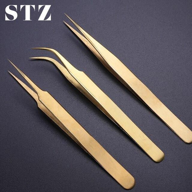 STZ 3 pièces droit + courbé pince à épiler ensemble pince pour cils cils Extension bigoudi stratification doré maquillage ongles accessoire G01 03