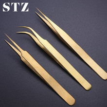 STZ 3pcs Straight+Curved Tweezers Set Clip For Eyelashes Lash Extension Curler Lamination Golden Make up Nail Accessory G01 03