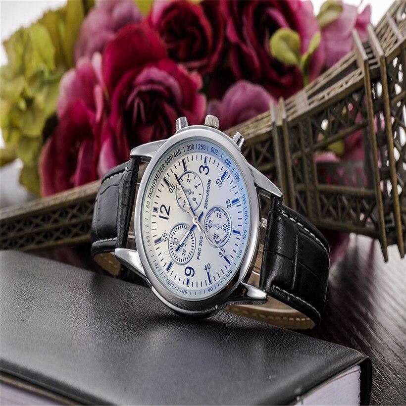 42a85fa78b7 Assistir Brwon Luxo Moda Pulseira de Couro Do Falso dos homens Blue Ray  Vidro Mostrador do Relógio de Quartzo Homens de Negócios Casual Masculino  relogio ...