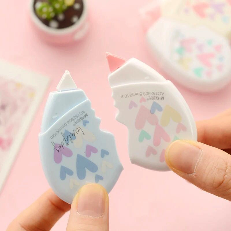 2 Pcs/pair Creative Love Heart Correction Tape Material Escolar Kawaii Office School Student 10m Correction Tapes Stationery
