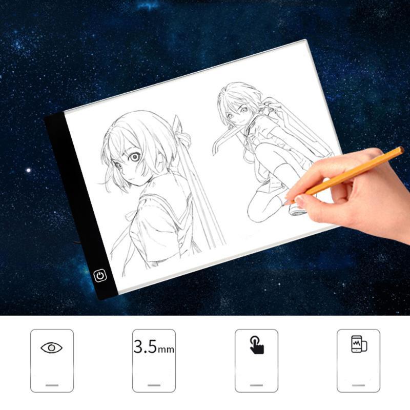 Digitale Tablet A4 Led-licht-anzeigetafel Kopie Schreibtisch 3,5mm Ultradünne Kunst Zeichnung Tracing Schablone Bord Künstler Tabelle 3 gang Dimmen
