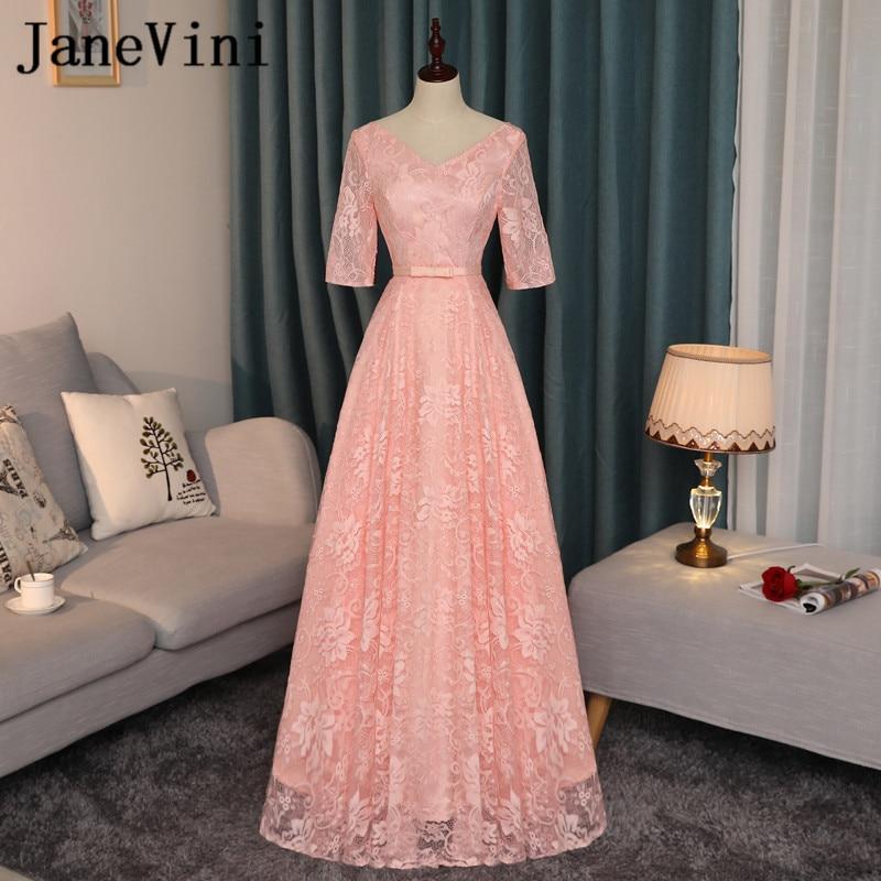 JaneVini Half Sleeve Pink Bridesmaid Dresses Long Women Wedding Party Dress Lace V-Neck Summer Sister Dress Robe Soiree Mariage