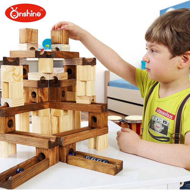 Onshine Children Enlighten Education Toys Wood Marbles Building Rail Ball Blocks Rollercoaster Style Construction Toys Gifts spell insert building blocks fire model plastic environmental protection construction science and education children s education